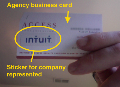 A PR person wisely stickers her business card with a company she represents